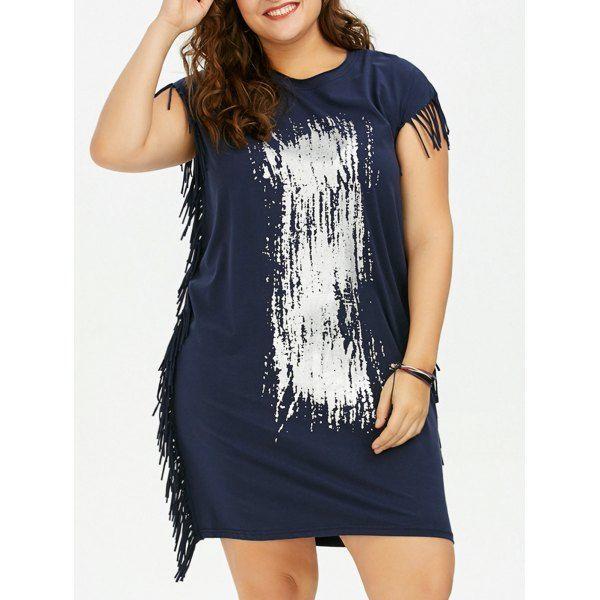 Printed Fringe Baggy Dress In Deep Blue | Twinkledeals.com