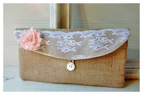 blush burlap lace white orange gold clutch rustic by hoganfe,
