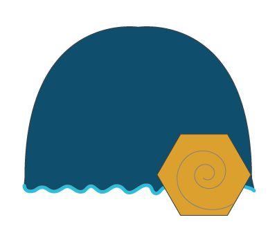 vintage hat: aqua/mustard flower