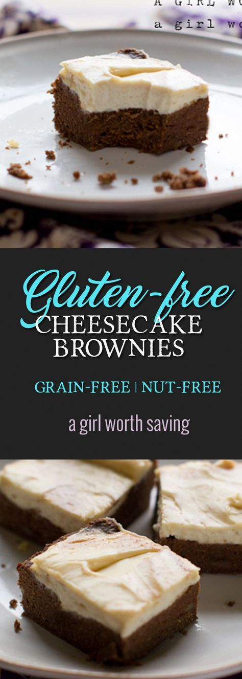 Gluten free cheesecake brownies that are straight up rich, chocolaty deliciousness! These are made with coconut flour and nut-free. via @bejelly