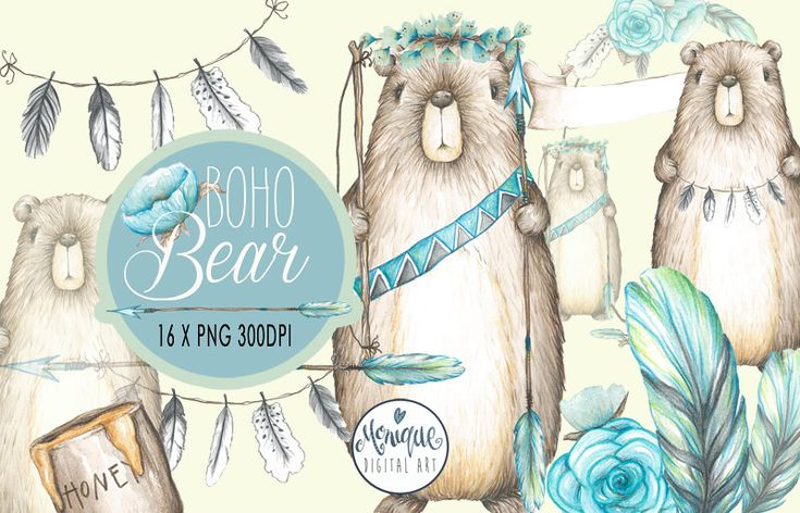 Woodland Bear clipart, Boho bear watercolor, cute bear, hand painted, floral, planner stickers, graphics resources, cliparts, planner pages by MoniqueDigitalArt on Etsy