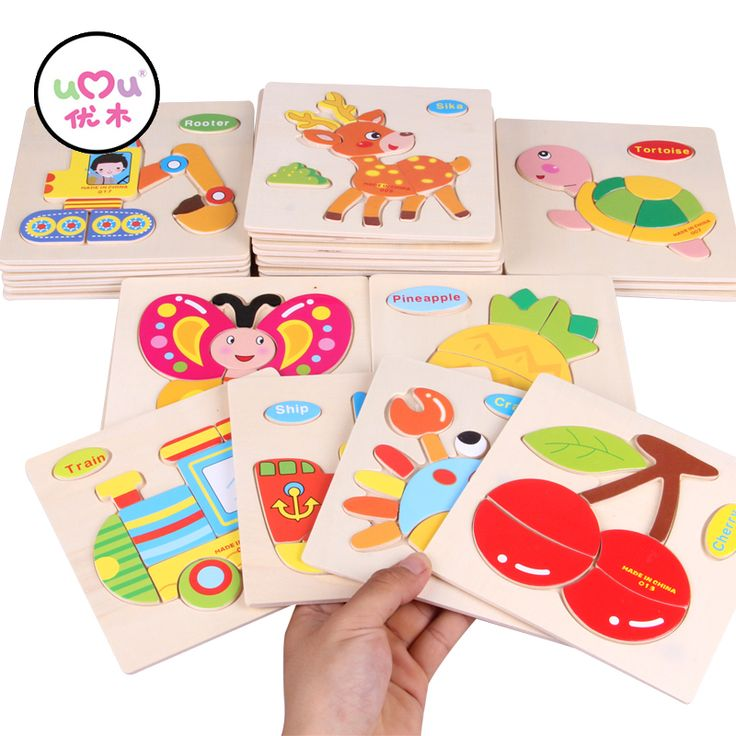 [Umu] kayu 3d puzzle jigsaw puzzle intelijen kayu mainan untuk anak-anak kartun hewan anak kayu montessori mainan pendidikan