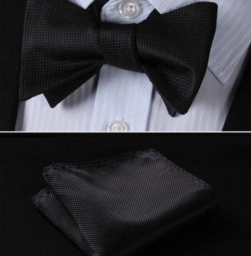 Luxusný hodvábny set - motýlik a vreckovka v čiernej farbe so štruktúrou