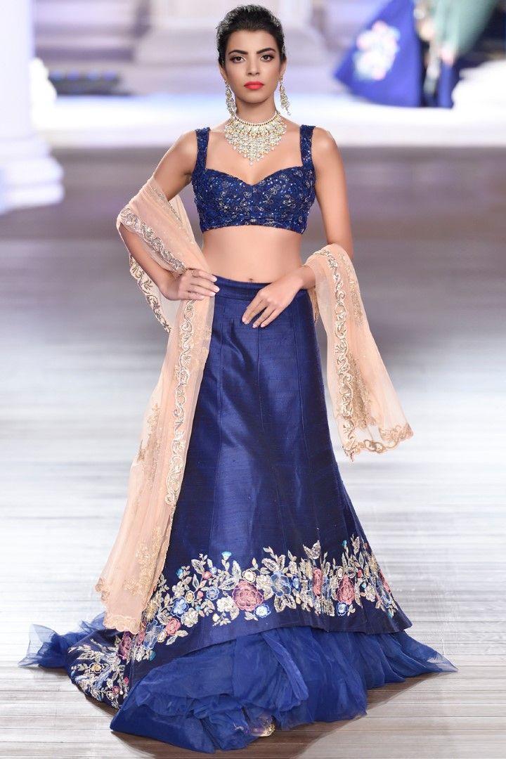 967ecd2ac1 SHYAMAL & BHUMIKA Floral Embroidery, Indian Embroidery, Shyamal And  Bhumika, Blue Lehenga,