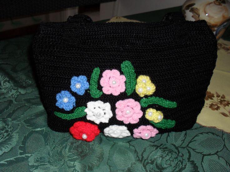 virágos horgolt táska