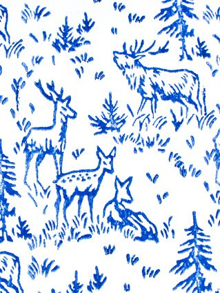 ROYAL BLUE DEER WRAPPING PAPER  www.thebirdhousecollection.com.au