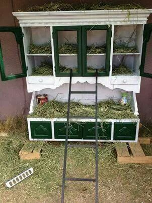 Turn old buffets and hutches into nesting boxes