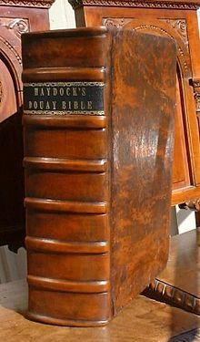 George Leo Haydock's Catholic Bible Commentary, 1859 edition. A Catholic Bible commentary compiled by the late Rev. Fr. George Leo Haydock, following the Douay-Rheims Bible. (photo comes from Wikipedia)