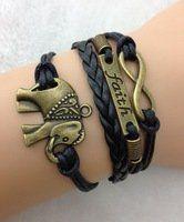 1563-Designer-Multi-strand-Cord-Bracelet-Men-Womens-Boys-or-Girls-Bracelet-3pcs-Bracelet-Faith-Bracelet-Elephant-Bracelet-Infinity-Bracelet-Brown-Wax-Cord-Charm-Bracelet