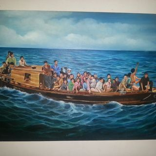 Boat People Drawing, Vietnamese refugee.