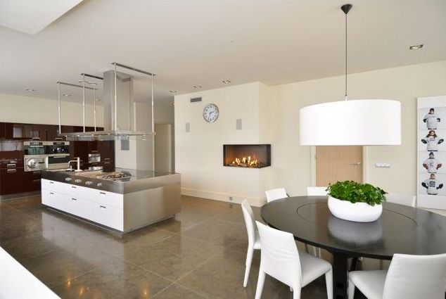 Kitchen with a fireplace
