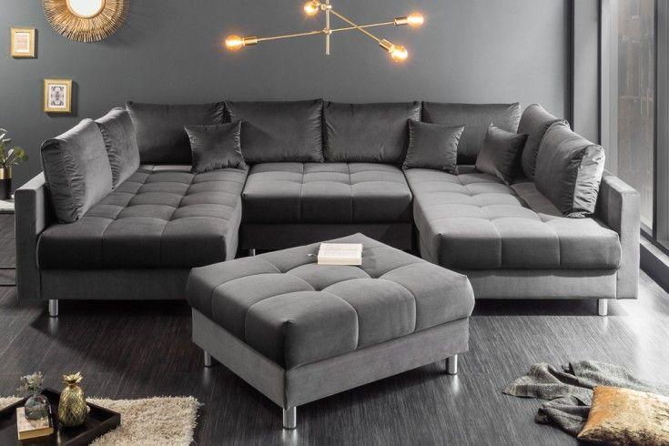 Moderne Xxl Wohnlandschaft Kent 305cm Grau Samt Federkern Inkl Hocker Und Kissen Riess Ambiente De Wohnen Mobel Sofa Samt Sofa