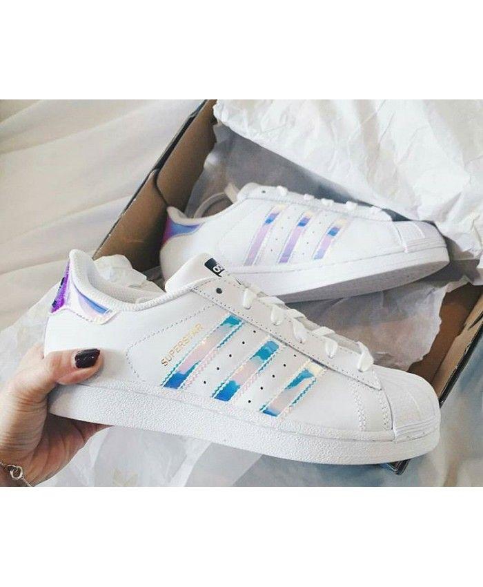 Adidas Originals Superstar With Metalic Glitter Purple Shiny Stripes  Sneakers on Sale 1f851e9b94