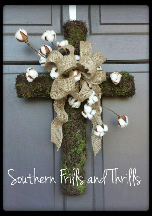 Cross Grapevine Wreath, Cross Wreath, Grapevine and Moss Cross, Burlap Wreath, Cotton Wreath, Cross Door Hanger, Spring Wreath