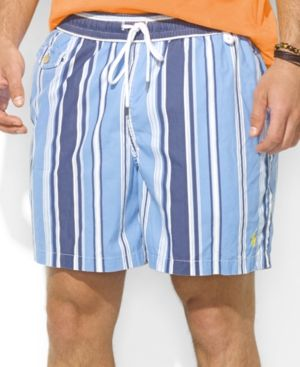 $79, Light Blue Vertical Striped Shorts: Ralph Lauren Polo Traveler Striped Nylon Swim Shorts. Sold by Macy's. Click for more info: https://lookastic.com/men/shop_items/260127/redirect