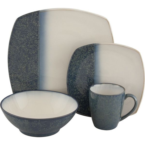 Sango Metallics Blue 16-piece Dinnerware Set (Stoneware featuring polyvore, home, kitchen & dining, dinnerware, blue, stoneware dishes, square dinnerware, sango dinnerware sets, square stoneware dinnerware and holiday dishes