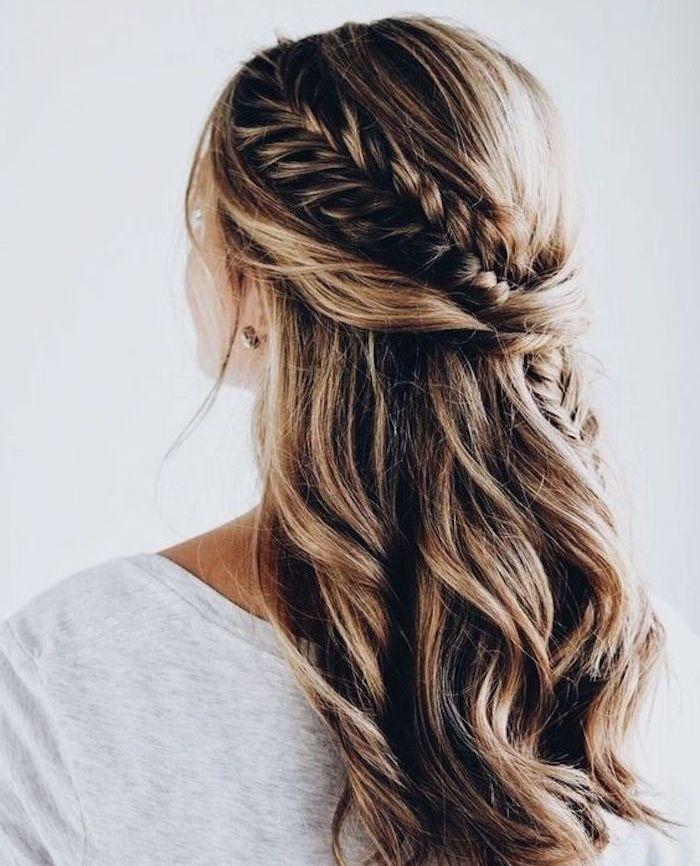 tresse de coté sur une chevelure longue avec natte épi de blé passant derriè…