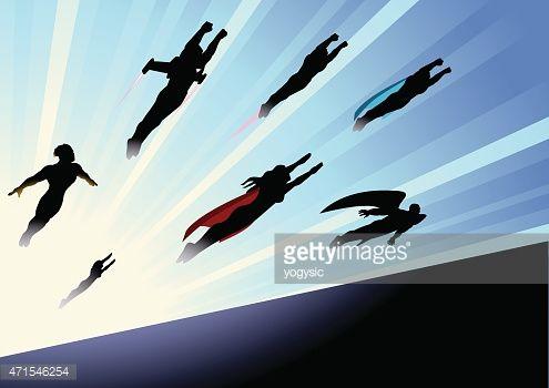 Arte vectorial : Vector Superheroes equipo Flying adelante silueta