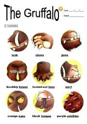 """The Gruffalo  Teach the interesting story """"The Gruffalo"""" with this worksheet. It contains 3 pages. Vocabulary, and comprehension questions. Enjoy!"""