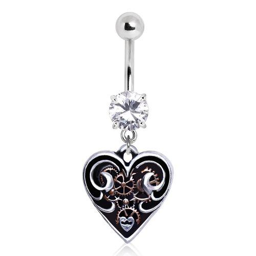 Piercing nombril en forme de coeur, rouage steampunk