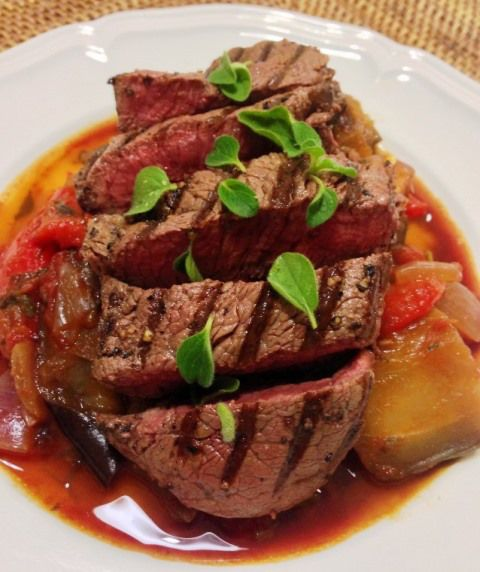 Seared Beef Eye Fillet With Caponata. (318 Calories a Serve)