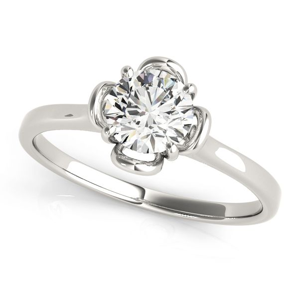 """""""Fosy"""" Solitaire Flower Engagement Ring With a broad appeal of beauty, floral ring designs are very versatile and can easily be adapted towards an individual's preferences.  Mounting type: Prong Setting  Band Width: 1.8 mm  Extra Small Diamonds: N/A"""