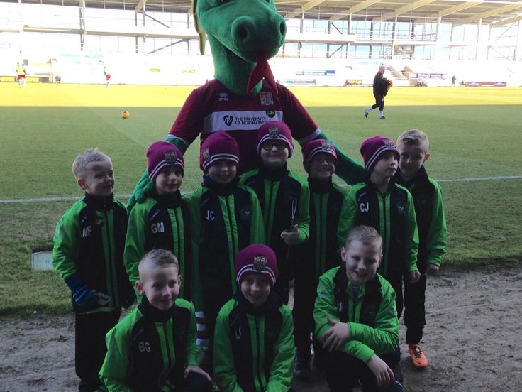 A picture of FC Aztec on their official player escort duties at Northampton Town FC wearing their new Stanno Riva Jackets.. Now just time to get the dragon a Centro Windbreaker Jacket!!