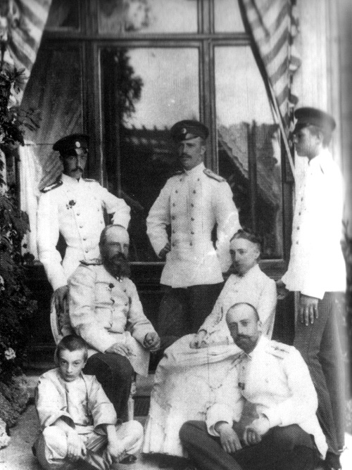 Grand Duke Mikhail Nikolaievich and Grand Duchess Olga Feodorovna of Russia with sons, back row from left: Mikhail Mikhailovich (1861–1929, George Mikhailovich  (1863–1919), Sergei Mikhailovich (1869–1918). First row from left: Alexei Mikhailovich (1875–1895), Nikolai Mikhailovich (1859–1919)