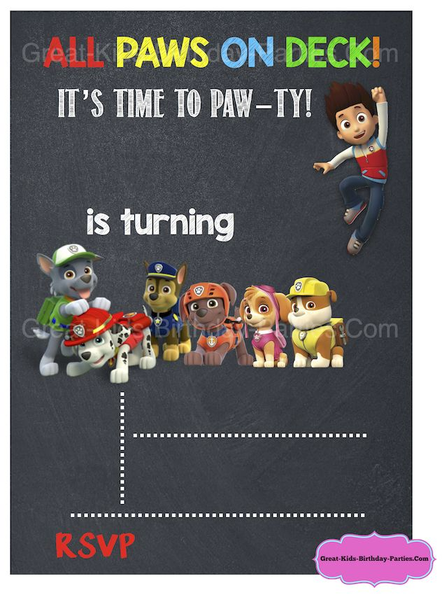 Free paw patrol chalkboard invitation template paw patrol party pinterest coloring free for Paw patrol invitation ideas