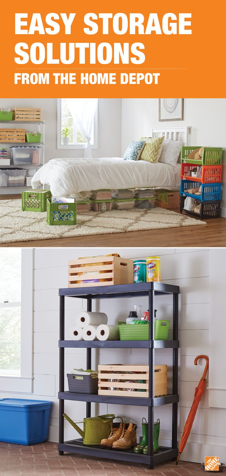 Simple plastic storage bins just might be the smartest solution to taming clutter in your home. Clear storage bins allow you to easily see what's inside. Colorful stacking storage bins add some pizzazz to a dorm room, laundry room or garage. They're versatile and budget-friendly. See all our storage options at The Home Depot.