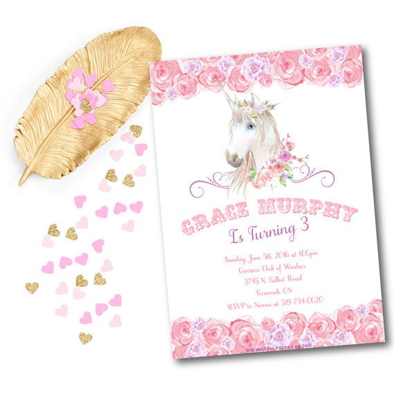Unicorn Birthday Invitation, Fairy, Floral, Watercolor, Vintage, Pony, Party, Horse, Shabby Chic, Baby Shower, Birthday, Unicorn Invitation