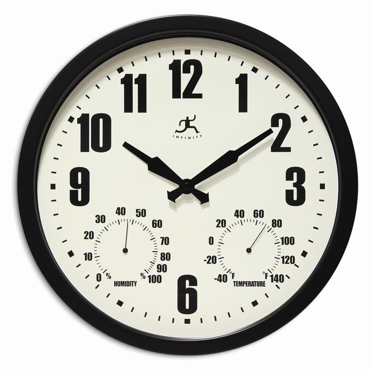 Munich Black Indoor/outdoor Wall Clock/thermometer/hygrometer