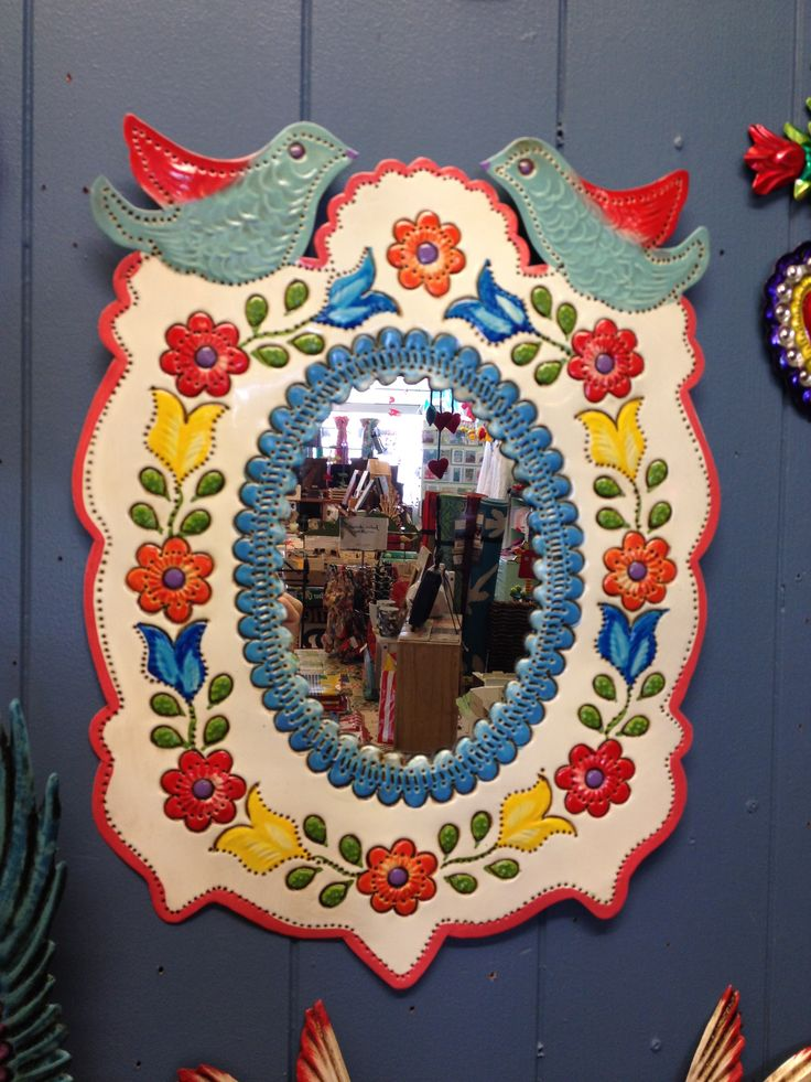 Mexican Tin   Super Sweet Mirror. Flower Border With Two Blue Birds... Mexican  Wall ArtFlower ...