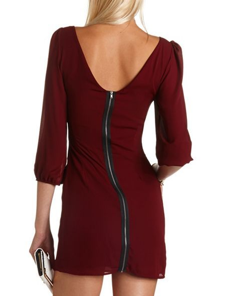 Zip-Back Chiffon Shift Dress #Fall fashion Get 10% off with promo code STURATE13