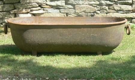 Item No 1288 A Large Antique Cast Iron Trough Of Oval Form