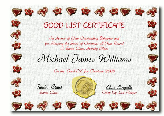 Letters From Santa Template And Good List Certificate