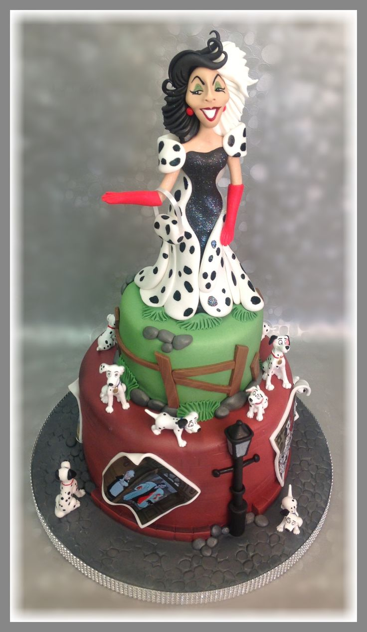 101 #Dalmatian themed cake. Hand modeled from sugar. The real #Cruella De Vil isn't quite as sweet.