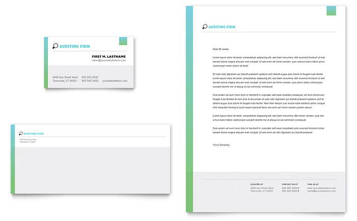 Auditing Firm Business Card and Letterhead Template Design by StockLayouts