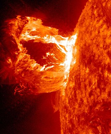 Nasa's Solar Dynamics Observatory captured the footage on Tuesday 17 April 2012, which shows the gas exploding out of the side of the sun