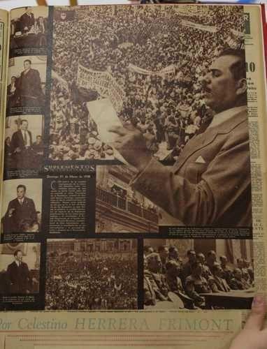 Fragmento de un suplemento del diario El Nacional, publicado el domingo 27 de marzo de 1938, que muestra la variedad de apoyos –legisladores, militares, trabajadores y población en general– que generó la decisión del general Lázaro Cárdenas del Río de expropiar el petróleo