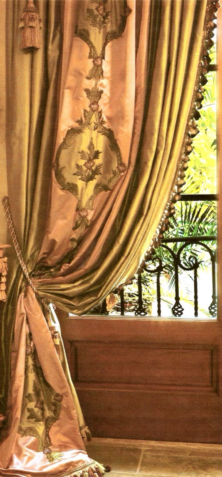window treatments beautiful silk drape with fringe and embroidered appliques luxury window treatments