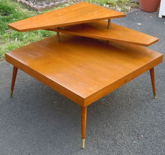 Mid Century Modern 3Tier Walnut Table by MissionModster on Etsy, $175.00