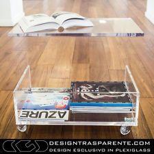 PLEXIGLASS Tavolino Portariviste Da Salotto Trasparente Design Moderno Sp.  15mm