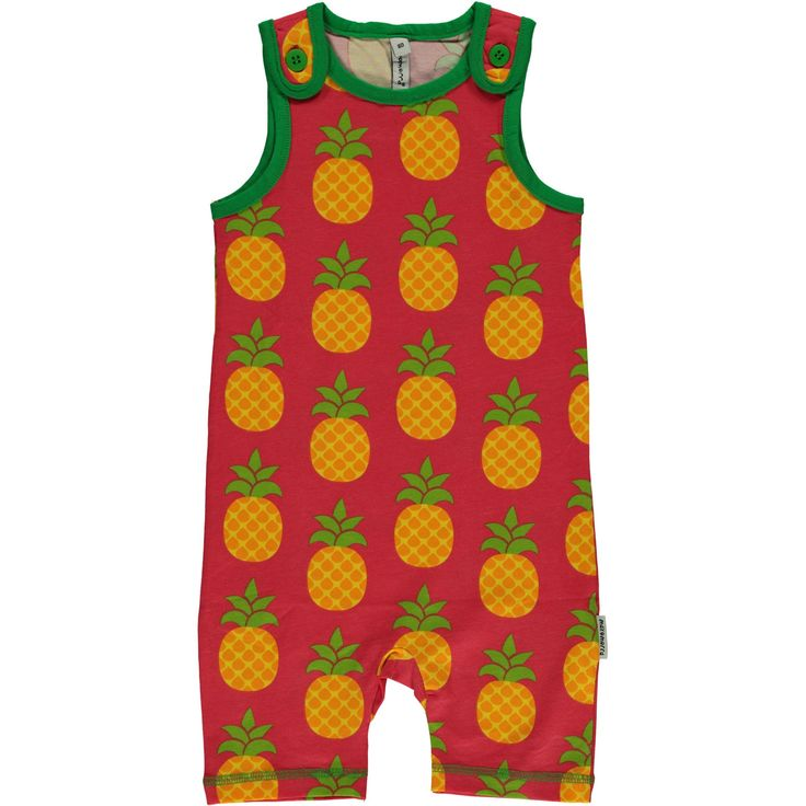 Pineapple Short Playsuit from Maxomorra, made from 100% Organic Cotton. Sweatshop free ethical and sustainable fashion. From Maxomorra, available at Modern Rascals.