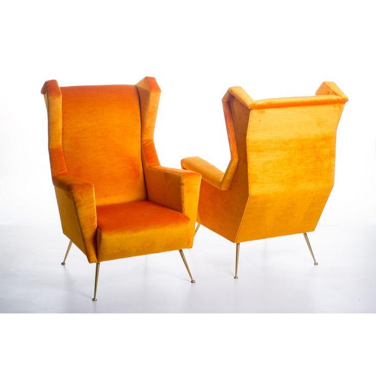 Coppia di poltrone stile anni 50 made in Italy colori giallo aranciato in velluto