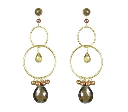 14ct gold filled earrings with faceted pear shape Smokey Quartz drop, Smokey Quartz, Cognac Quartz beads and cultured fresh water pearls. http://mounir.co.uk/collections/sparkling_nights/4591_earrings_with_smokey_quartz