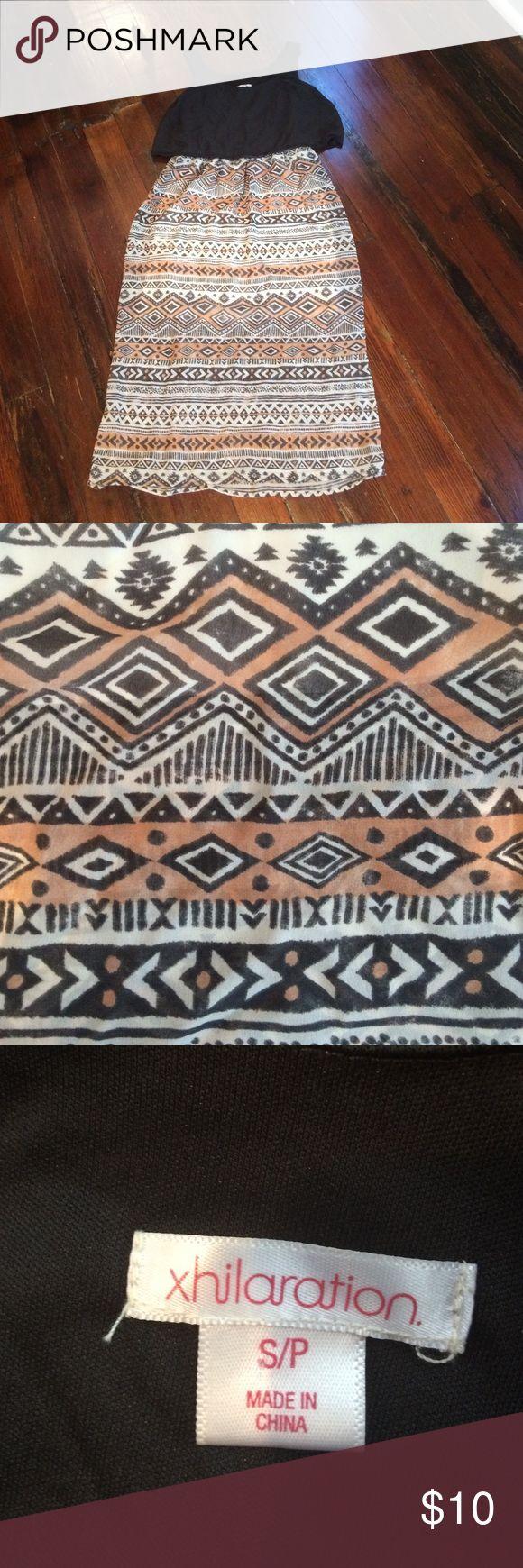 Long, Aztec-print Dress with Flowing Black Top A long dress with a black top and patterned bottom Xhilaration Dresses Maxi