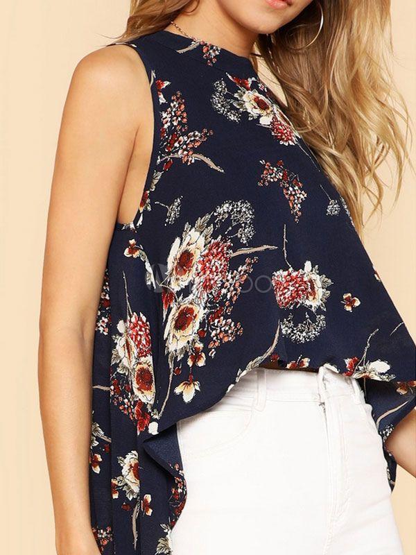 ca0f21e4390 Women Floral Blouses Sleeveless Chiffon High Low Ink Blue Boho Summer Top   Sleeveless