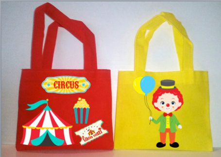 "6 Circus Party, Circus Party Favors Bags, Circus Favors, Circus party bags, Candy Bags, Favor Bags, Small 7""X6"" and Medium 8'X8"" by picturesweet on Etsy"