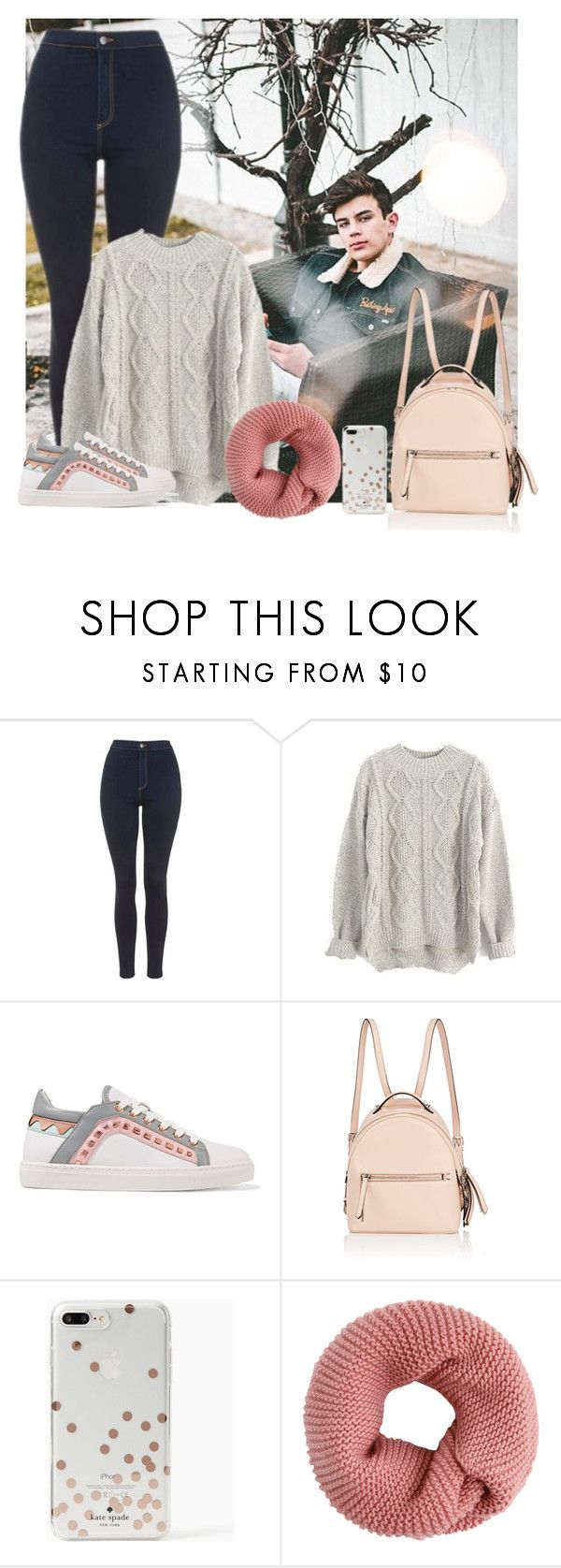 """Hayes Grier"" by hxrrybae ❤ liked on Polyvore featuring Topshop, Sophia Webster, Fendi, Kate Spade, Winter, outfit, girl, Hayes and magcon"